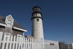 Höglands- fyr på Cape Cod, Massachusetts Royaltyfri Foto