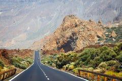 Höglands- huvudväg i Tenerife Arkivfoton