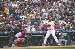 Högre serie i basebollspelare Arkivbild