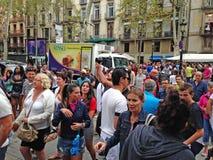 Högsäsongturism i Barcelona, Spanien Royaltyfria Bilder