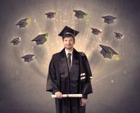 Högskolakandidat med många flyghattar Royaltyfri Fotografi