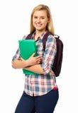 Högskolestudent Against White Background Arkivfoto