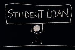 Högskolestudent som rymmer ett tecken - studielån som bär vikten av ett lån, ovanligt begrepp arkivfoto
