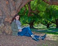 Högskolestudent som studerar under ett träd fotografering för bildbyråer