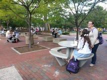 Högskolestudenter som tycker om universitetsområdet Arkivbild
