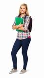 HögskolestudentWith Backpack And mapp Royaltyfria Bilder