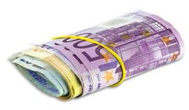 Högsnirkel av eurosedlar Arkivfoto
