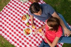 Högstämt beskåda av två vänner som ligger på en filt med en picknick Arkivbild