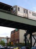 Högstämt gångtunneldrev, s-linje, anslutning, Brooklyn, NY, USA Arkivfoton