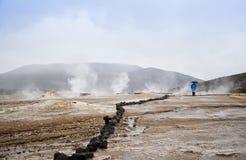Högst dal av Geysers El Tatio i Anderna Arkivbilder