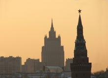 högst hus gammala moscow Royaltyfri Fotografi