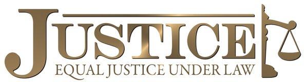 Högsta domstolen för rättvisaLogo Gold Equal Justice Under lag vektor illustrationer