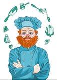 Högsta kock, ledar- kock Thinks om matlagning med hans korsade armar Arkivbild
