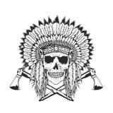 Högsta skalle för indian med tomahawk Arkivfoton