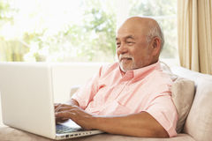 högt använda för home bärbar datorman royaltyfri bild