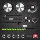 Högt - avsluta användargränssnittbeståndsdelar för ljudsignal spelare Royaltyfri Fotografi