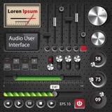 Högt - avsluta användargränssnittbeståndsdelar för ljudsignal spelare Royaltyfria Foton
