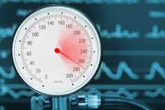 Högt begrepp för blodtryckdiagnostikläkarundersökning arkivbild