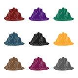 Högt brant berg med gräs de mörka färgerna med skarpa grova spikar Enkel symbol för olika berg i svart stilvektor vektor illustrationer