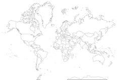Högt detaljerad konturvärldskarta stock illustrationer