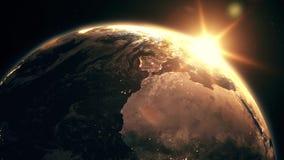 Högt detaljerad realistisk episk soluppgång över animering för planetjord 3D royaltyfri illustrationer