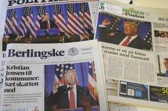 HÖGT LJUS FÖR DANSKT MASSMEDIA PÅ TRUMF FÖR PRESIDENET ELCTIO Royaltyfria Bilder