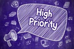 Högt - prioritet - räcka den utdragna illustrationen på den blåa svart tavlan stock illustrationer