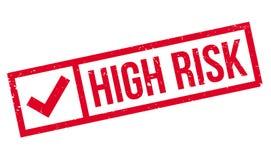 Högt - rubber stämpel för risk stock illustrationer