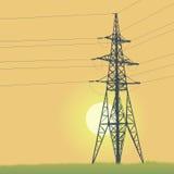 Högt spänningstorn och soluppgång Fotografering för Bildbyråer