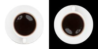Högt stylised avbilda av kaffe kuper och sauceren på svart och whit Royaltyfri Foto