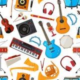 Högtalare, förstärkare, synt och annan musikinstrument och tillbehör seamless vektor för modell stock illustrationer