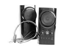 Högtalare och hörlurar Fotografering för Bildbyråer