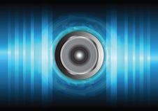 Högtalare och sound wave stock illustrationer