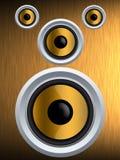 Högtalare på en guld- metalltextur Fotografering för Bildbyråer
