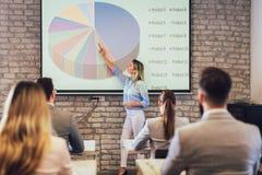 Högtalare som ger offentlig presentation genom att använda projektorn i konferensrum arkivfoto