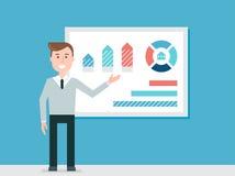 Högtalare som ger presentation genom att använda diagramdiagram vektor illustrationer