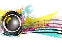 Högtalaren med färgstänk och explosion formar och färgar Royaltyfria Bilder