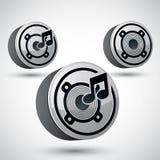 Högtalaresymbol, för musiktema för vektor 3d beståndsdel för design Arkivbilder