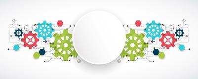 Högteknologisk digital teknologi för kugghjul och teknikbakgrund stock illustrationer