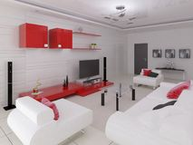 Högteknologisk vardagsrum med modernt funktionellt möblemang royaltyfri illustrationer