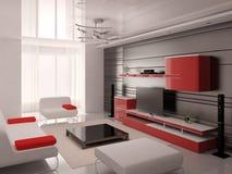 Högteknologisk vardagsrum med modernt funktionellt möblemang stock illustrationer