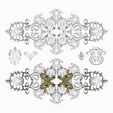 Högtidlig svartvit modelluppsättning också vektor för coreldrawillustration Royaltyfria Foton