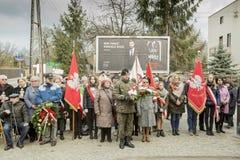 Högtidlig undergivenhet av kransar på monumentet av offren av t Fotografering för Bildbyråer