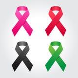 Högvärdig bandillustration, bröstcancer, HJÄLPMEDEL, sjukdom, skräckmedvetenhet Arkivbild