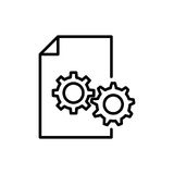 Högvärdig dokumentsymbol eller logo i linjen stil stock illustrationer