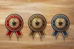 Högvärdig emblemuppsättning för kaffe vektor illustrationer