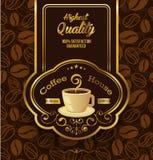 Högvärdig kaffeetikett över tappningbakgrund Arkivbild