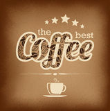 Högvärdig kaffeetikett över tappningbakgrund Arkivbilder