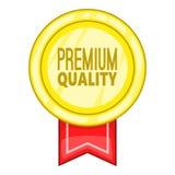 Högvärdig kvalitets- etikettsymbol, tecknad filmstil Fotografering för Bildbyråer