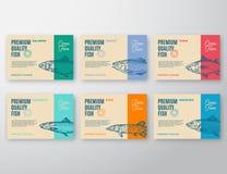 Högvärdig kvalitets- fisketikettuppsättning Design eller etikett för abstrakt vektor förpackande Modern typografi och hand dragen Arkivbild